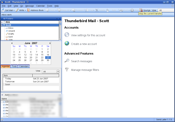 Thunderbird 2.0 with various extensions and the Outlook 2003 BlueTB Theme