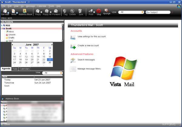 Thunderbird 2.0 with various extensions and the Vista Mail Theme