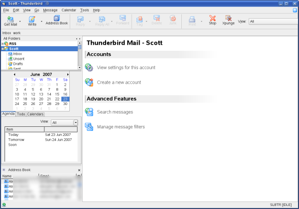 Thunderbird 2.0 with various extensions and the Phoenity Theme
