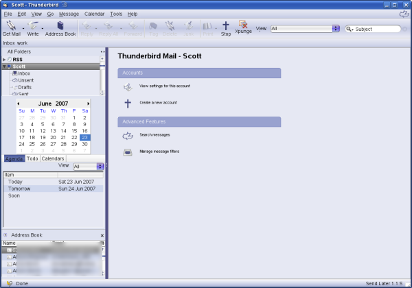 Thunderbird 2.0 with various extensions and the Theme